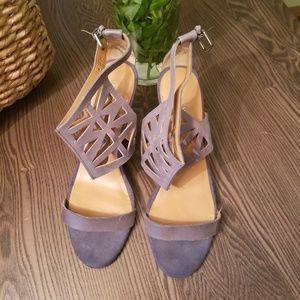 Nine West Cuff Wedge Sandals Pewter Blue Size 9